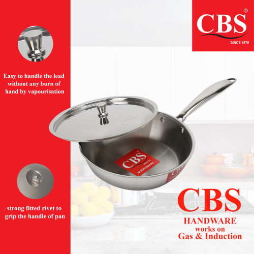 CBS STAINLESS STEEL FRYPAN TRIPLY WITH LID